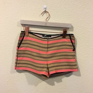 Maison Scotch Nomade tan and pink striped shorts